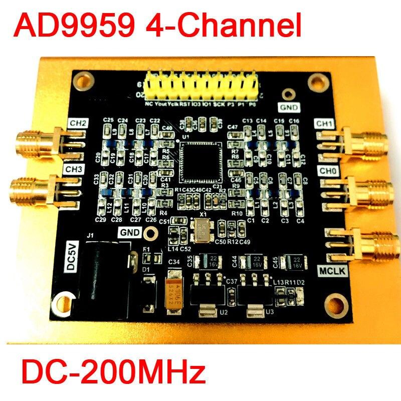 AD9959 DC-200MHz 4 canaux Radio fréquence RF générateur de Source de Signal Module DDS onde: onde sinusoïdale