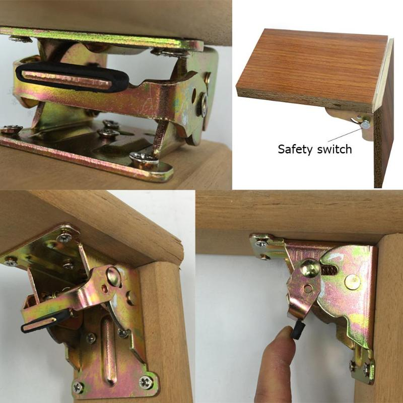 90 Degrees Iron Folding Hinge Table Leg Brackets Foldable For Table Chair Extension Self Locking Furniture Hardware Accessories