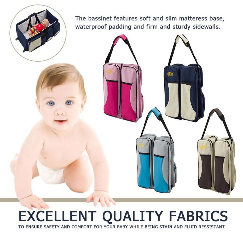 Waterproof Portable Diaper Bag Foldable Baby Cribs Bed Changing Diapers Multifunction Travel Mummy Shoulder Bag Nappy Bag dewel foldable baby cribs portable safe newborn cot mummy baby travel bags supplies storage 5 pocket shoulder bag baby nappy bed