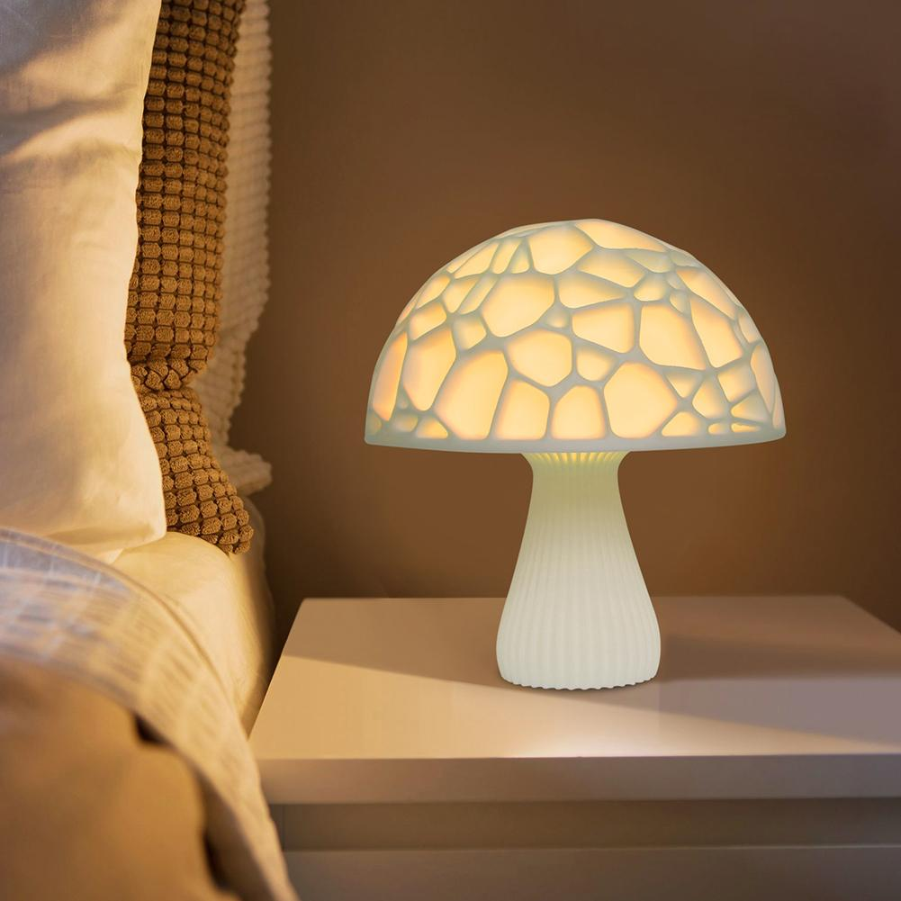 100% Quality 3d Printed Mushroom Night Light 2/16-color Led Usb Rechargeable Desk Tablet Lamp