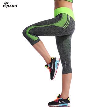BINAND spodnie do jogi spodnie sportowe damskie spodnie sportowe Capri Running 3 4 długość Fitness legginsy gimnastyczne szybkie suche spodnie sportowe tanie i dobre opinie CN (pochodzenie) Elastyczny pas Poliester spandex WOMEN Pasuje prawda na wymiar weź swój normalny rozmiar Yoga Cielę długości spodnie