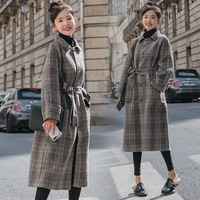 Concise Chic Checked Lapel Outerwear Waisted Wool Greatcoat Plaids And Tweeds Loose Coat Winter Woman Basic Woollen Overcoat