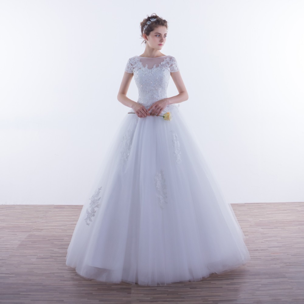 Vivian's Bridal Short Sleeve A-line Tulle Wedding Dress 2019 Crystal Lace Appliques Customized Fluffy Elegant Women Bridal Gown