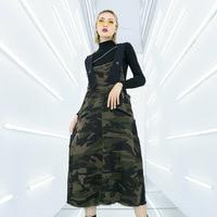 Women Military Camouflage Strap dress Fashion Cotton Baggy Cowboy Maxi dress Holes Jean Dresses Camo Bib Denim Long Dress
