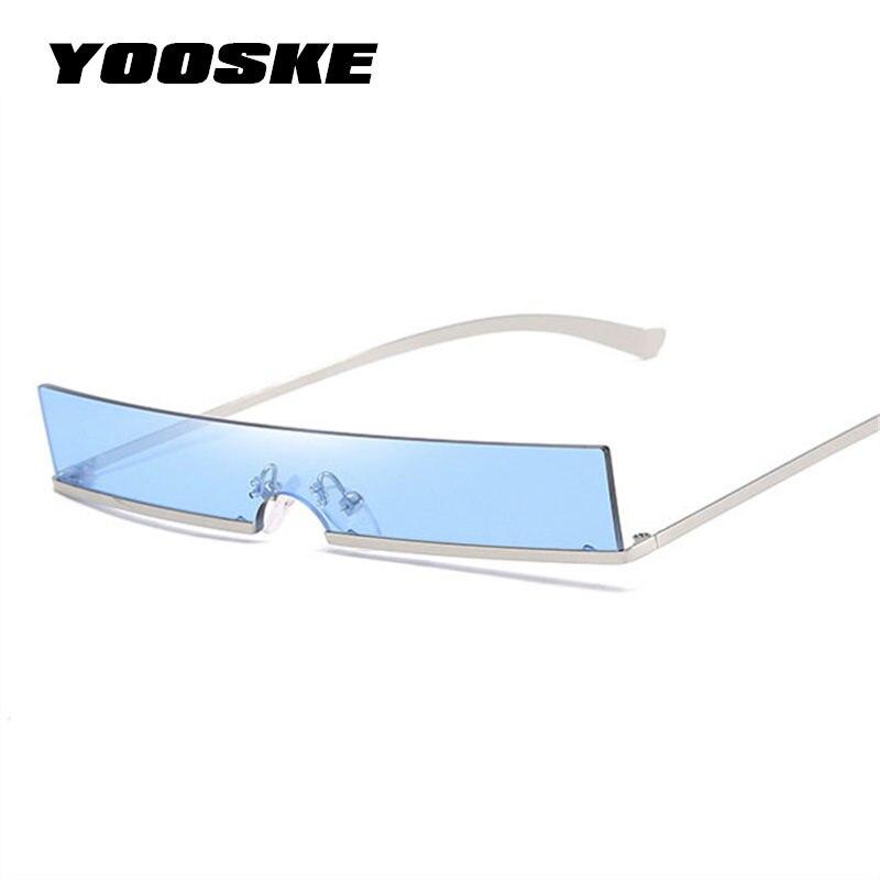 YOOSKE 90S Cat Eye Sunglasses Women Trend Metal Frame Small Square Sun Glasses Female Vintage Rectangular Skinny Cateye Sunglass