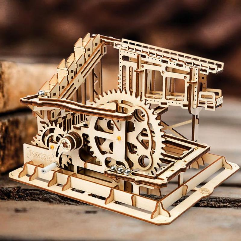 3D Waterwheel Coaster Building Blocks Model  Kit Wooden Craft Marble Run Game Assembly Toys3D Waterwheel Coaster Building Blocks Model  Kit Wooden Craft Marble Run Game Assembly Toys
