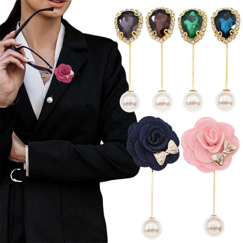 2019 Hot Sale Vintage Crystal Flower Brooch Pins Double Head Simulation Pearl Brooches For Women Wedding Jewelry Accessories