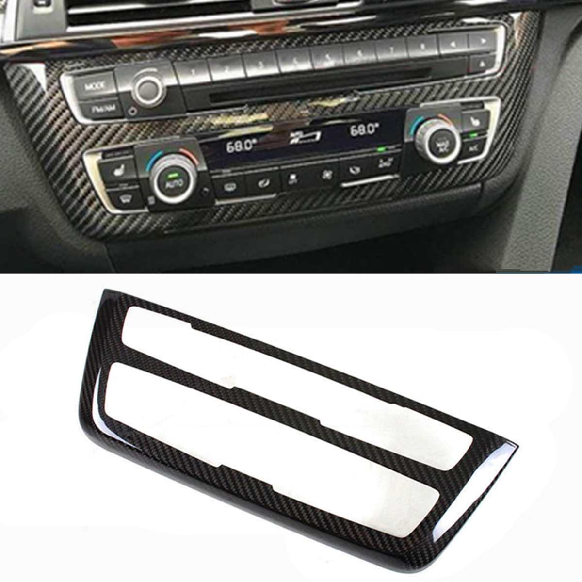 New Carbon Fiber Car Air Condition Control CD AC Console Control Panel Add-On Trim Hard Cover Fit For BMW M3 M4 2014-2018