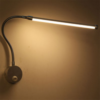 Led Wall Lamp With Flexible Tube Position Aajustable Lamp Kid Study Book Light Wall Mounted Indoor Lighting Reading Bedside Lamp