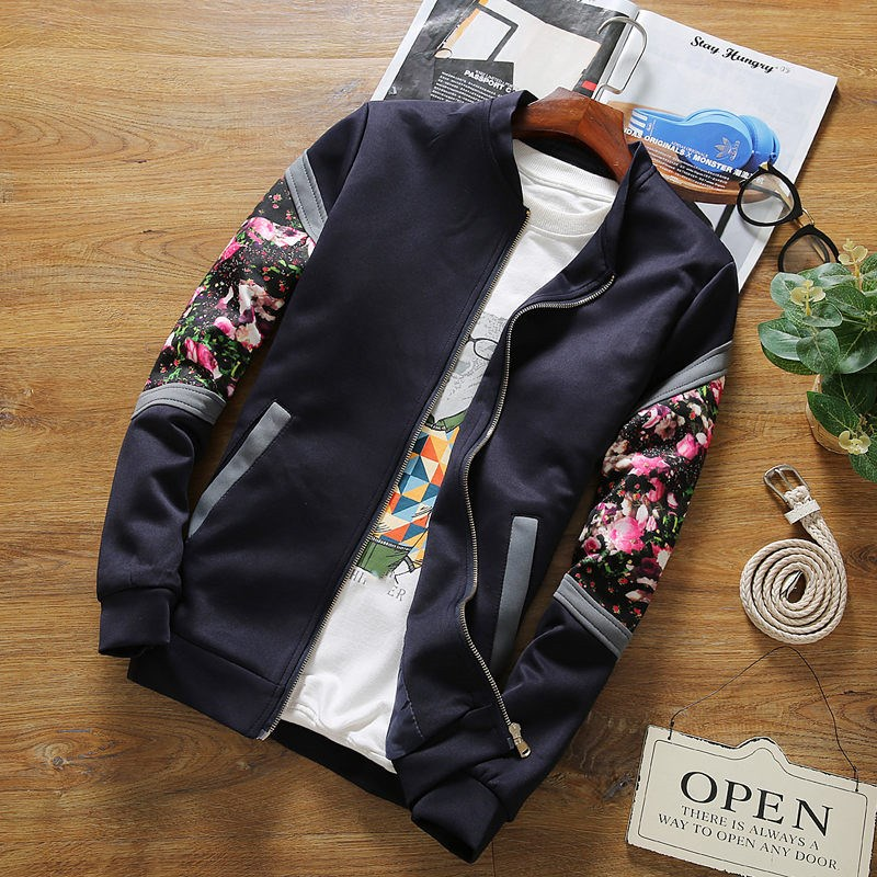 2019 Spring Female Flowers Floral Causal   Jacket   New Fitness Print   Basic     Jackets   Women Coats Zipper Patchwork Bomber   Jackets