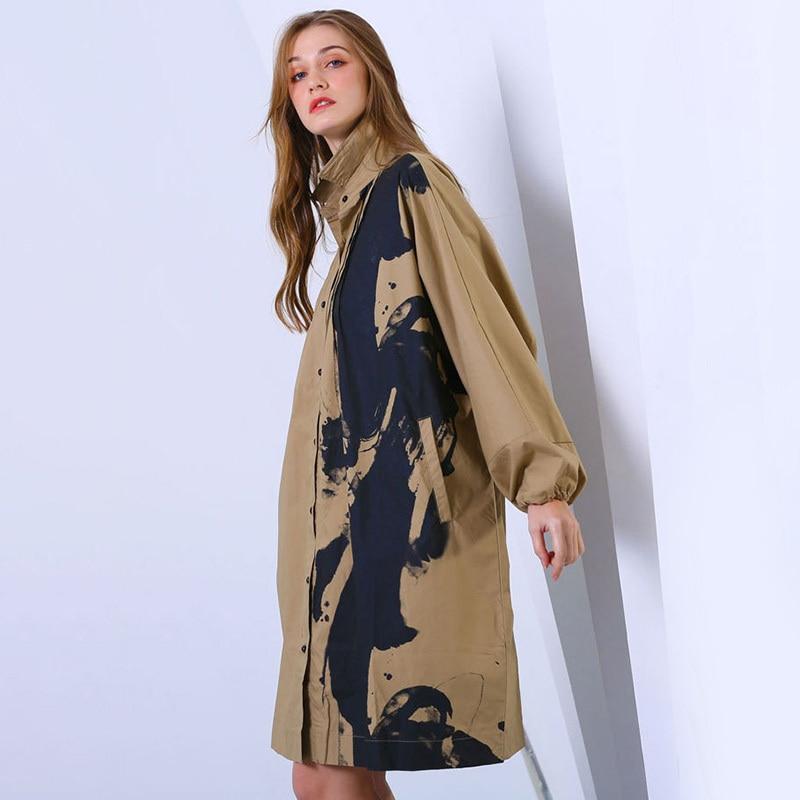 LANMREM 2019 New Fashion Printed Turn Down Collar Batwing Long Sleeve Shirt Female s Large Size