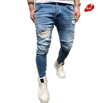 Skinny Jeans Men 2019 Spring Summer Slim Denim Jeans Men Casual Broken Hole Zipper Stripe Elastic Denim Pants O8R2