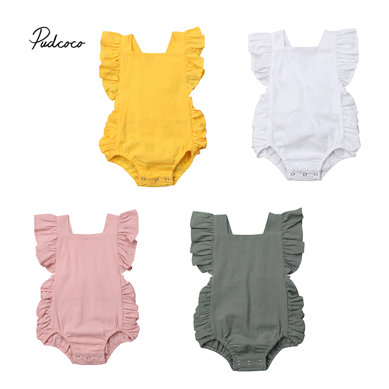 Mother & Kids Girls' Baby Clothing Hearty Pudcoco Popular Newborn Baby Girl Boy Solid Ruffle Sleeveless Bodysuit Jumpsuit Outfits Sunsuit 4 Colour