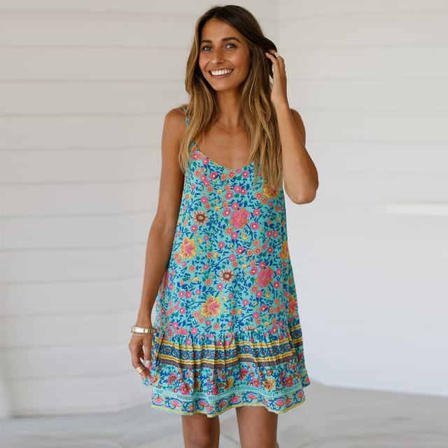 d5b2d8d574 US $14.81 30% OFF|Spagetti Strap Floral Ruffle Hippie Summer Mini Dress  2019 Sexy Backless Short Boho Beach Dress Women Beachwear Sundress  Vestido-in ...