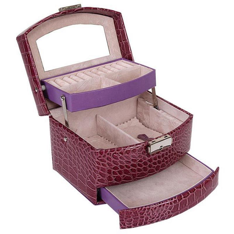 Automatische Leder Schmuck Box Drei-schicht Lagerung Box Für Frauen Ohrring Ring Kosmetische Veranstalter Sarg Für Dekorationen Lila
