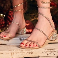Bling Crystal Snake Wrap Women Sandals Chunky Heel Sexy Strappy Gladiator Sandals Women Shoes Summer Sandalias Mujer slippers