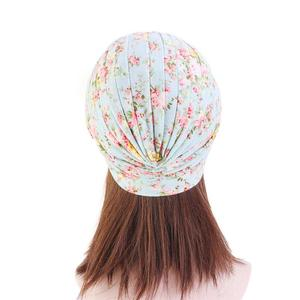 Image 5 - インドターバンイスラム教徒女性の花プリント帽子がん化学及血キャップイスラム脱毛カバービーニーボンネットのヘッドスカーフプリーツキャップ帽子