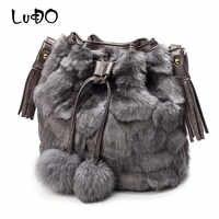 Bolso de hombro para mujer de moda Otoño Invierno de LUCDO bolso de hombro para mujer bolso de piel de leopardo peluda bolsos femeninos Bola de borla bolsos mujer