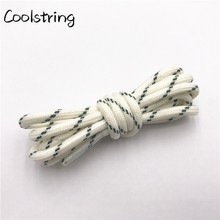 Coolstring Round Striped Rope Laces Beige White Bootlaces Polyester Shoelace Shoestring For Roller Skates Hiking Outdoor Shoes