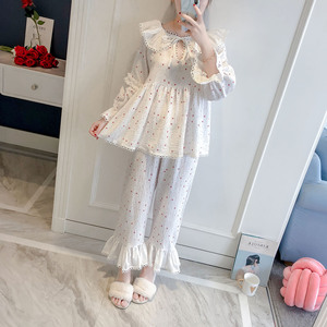Image 3 - 2019 Spring Autumn Women Cute Pajamas Sets With Pants Cotton Sleepwear Cute Lace V Neck Double Gauze Nightwear Pijama