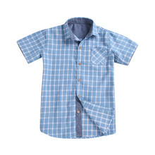 4-10 Years Plaid Shirts For Boys Summer Blue Plaid Kids Roll Up Blouses Boys Clothes Cotton Child Pocket Boys Kids Shirts Tops