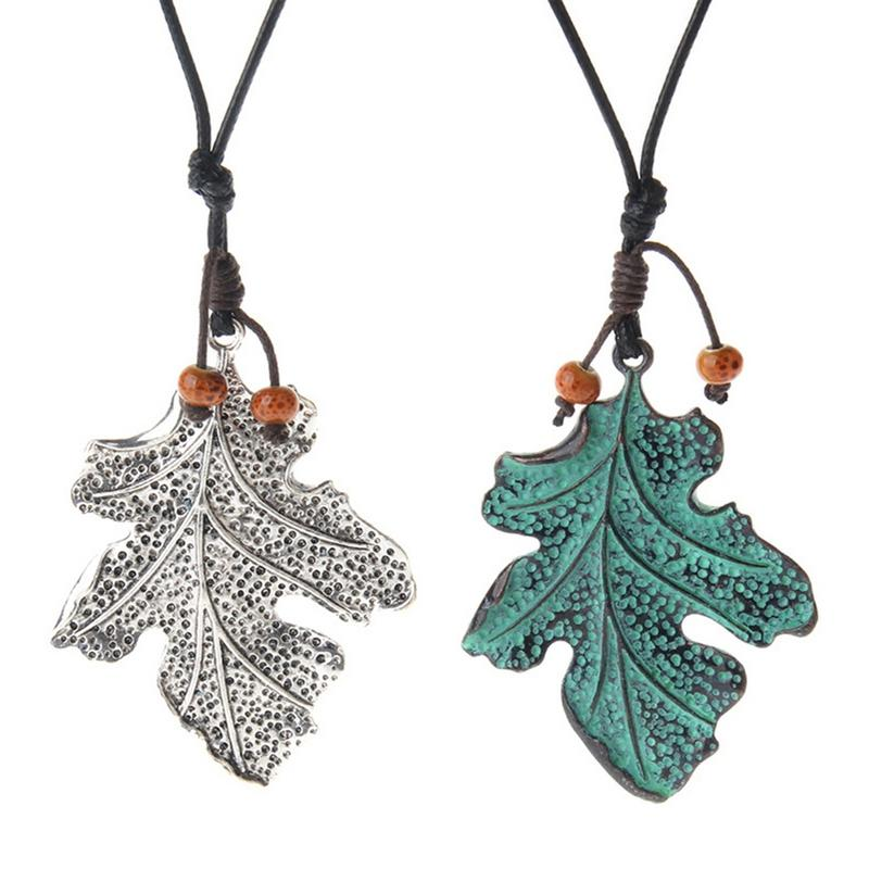 Retro Style Cotton Linen Long Sweater Chain Vintage Silver Green Color Leaves Pendant Necklaces