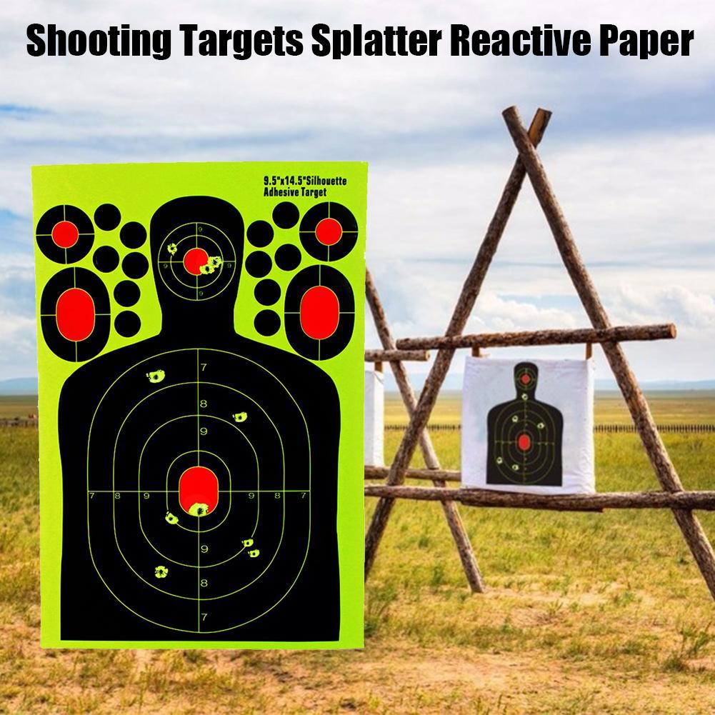 10 PCS 14.5Inch Shooting Targets Splatter Reactive Training Target Paper Fluorescent For Rifle Pistol Airsoft Pellet Gun Paper