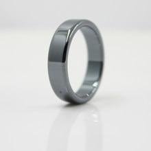 Moda jóias grau aaa qualidade suave 6 mm largura plana hematite anéis (1 peça) hr1002