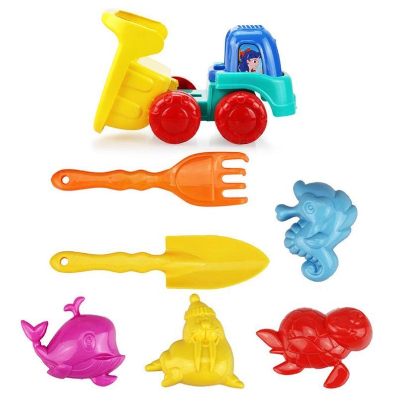7pcs Kids Beach Toys Summer Mini Sand Beach Game Car Rakes Toys Sand Water Kids Toy Seaside Bucket Kit