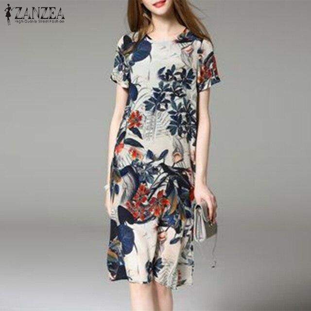 2019 ZANZEA Elegant Floral Printed Split Party Short Vestidos Summer Short  Sleeve Loose Dress Women Casual O Neck Baggy Dresses cc01f5fbf130