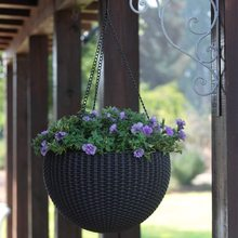 Indoor Or Outdoor Rattan Basket Hanging Basket Hanging Pot, Hanging Seeder Set,Espresso Brown(China)