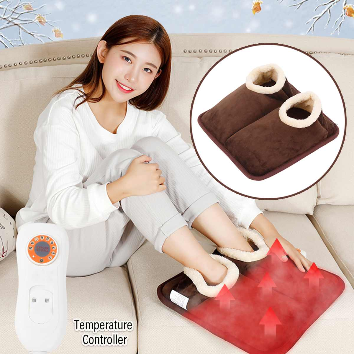 Winter Electric Feet Hand Heating Pad Warmer Heater 9 Gear Home Office Washable Electric Heat Slipper Heating Shoes BrownWinter Electric Feet Hand Heating Pad Warmer Heater 9 Gear Home Office Washable Electric Heat Slipper Heating Shoes Brown
