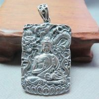 REAL 925 Sterling Silver Pendant Blessing Dragon Buddha Pendant 58mm H