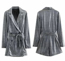 426e114946e Sexy Silver Sequins Loose Rompers 2019 New Fashion Double Breasted Sashes Women  Blazers Romper Casual Jumpsuit