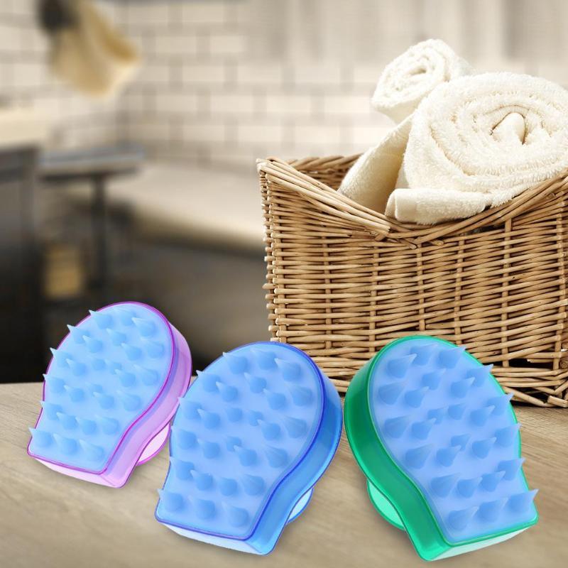 1 pc Spa Haar Pinsel Silikon Shampoo Kopfhaut Massage Pinsel Dusche Körper Waschen Massager Pinsel Kopf Körper Massage