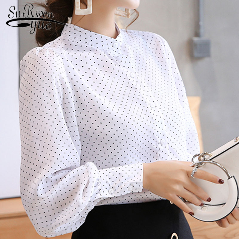 New Arrived 2019  Spring Blouse Women White Shirt Female Long Sleeve Chiffon Blouse Office Lady Fashion Tops D469 30