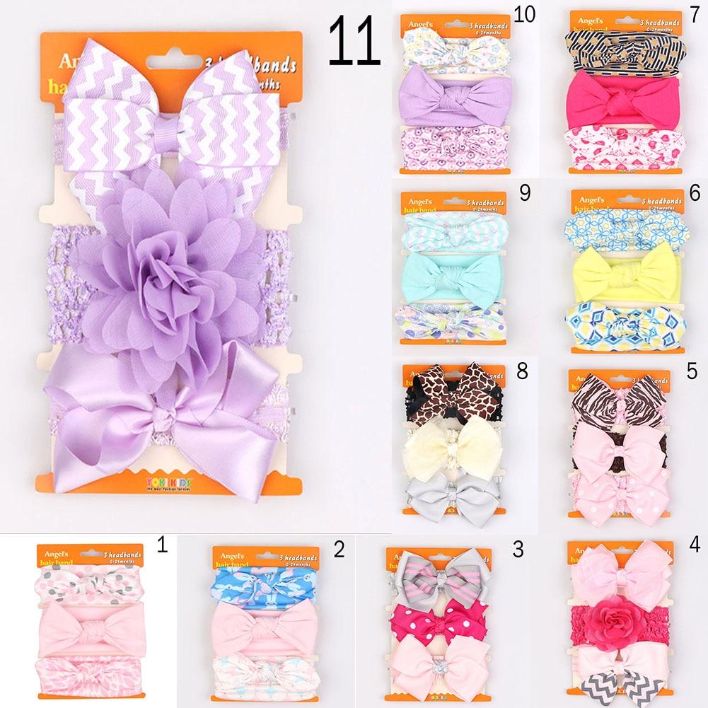 3Pcs Baby Headband Girls Bowknot Flower Hair Band Accessories Baby Cotton Headwear Cute Rabbit Ear Elastic Kids Hair Accessories