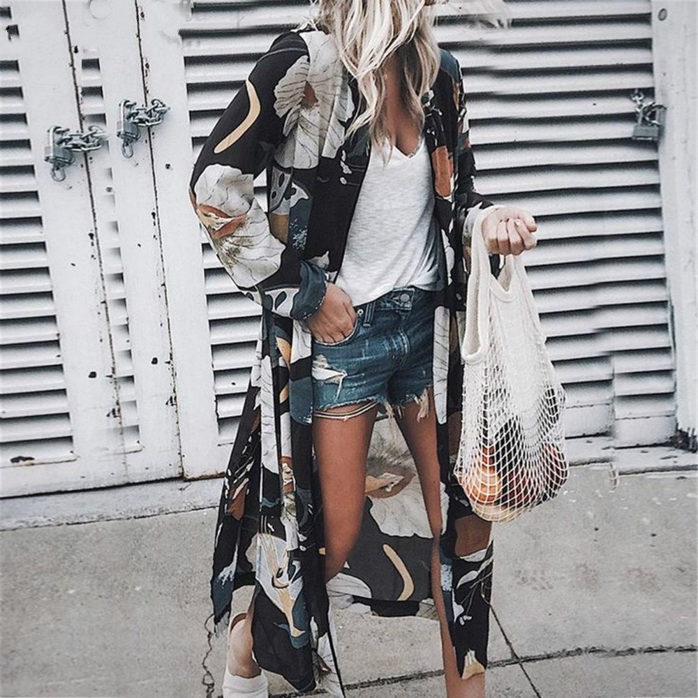 2019 повседневное пляжное платье в стиле бохо, женское шифоновое платье с длинными рукавами и цветочным рисунком, коричневое платье, кимоно, Летние Повседневные платья Maxi