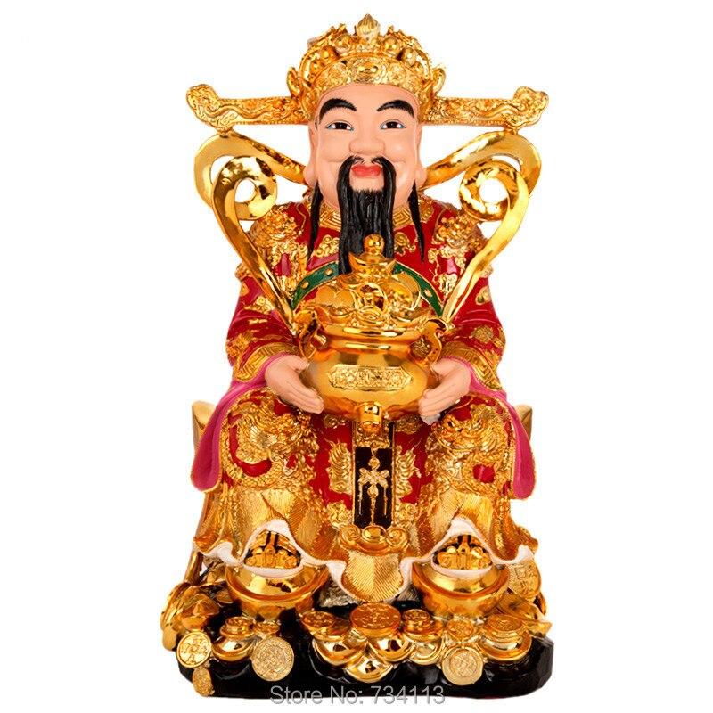 Dios de la riqueza Buda Kaiguang Fortuna ornamentos Wencai Dios Buda estatua casa empresa regalos de la suerte adoración dioses 31 cm altura-in Estatuas y esculturas from Hogar y Mascotas    1