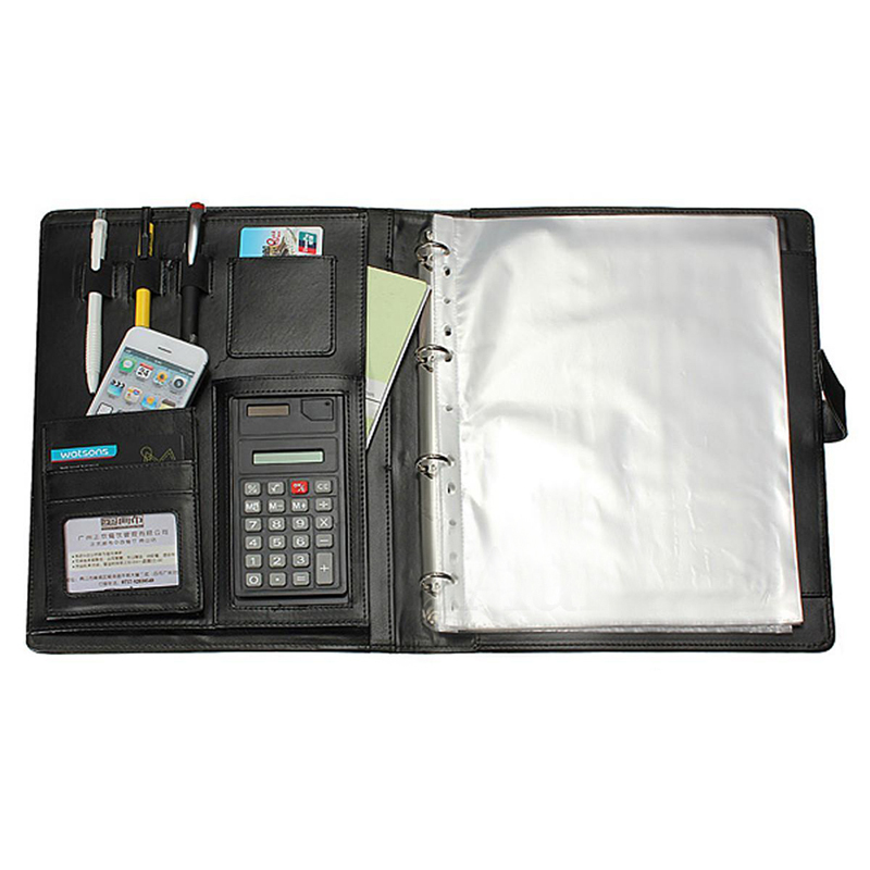 PU Leather A4 Folder Portfolio Briefcase Conference Document Organizer For Manager Office Meeting Portable Black