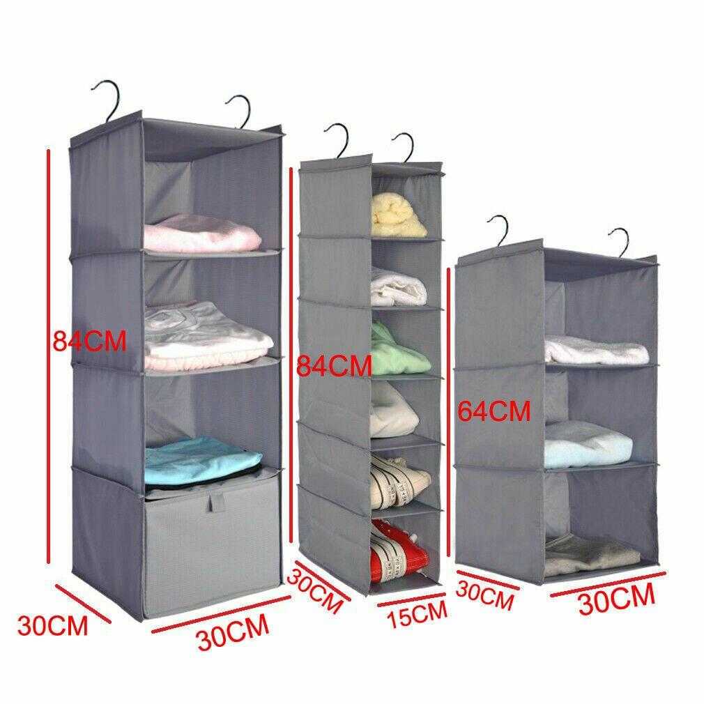 Hanging Wardrobe Organizer Storage Bag Closet Shelf Cloth Hanger Rack Container