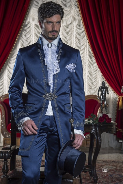 Italian Suits Men Blue Long Tailcoat With Embroidery Formal Wedding Suits For Men Groom Tuxedo Costume Homme Mariage 2 Pieces