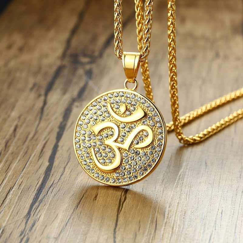 Dropshiping Men Om Necklace Stainless Steel Amulet Medallion Pendant with CZ Aum Ohm Symbol in Golden Men's Jewelry 24 Inch