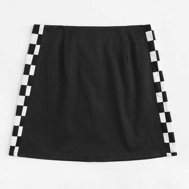 Black And White Plaid Stitching Metal Zipper Bag Hip Bottom Skirt
