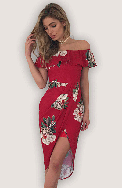 Summer Women Off Shoulder Flower Print Vintage Evening Party Dress Indie Folk Asymmetrical Slash Neck Slim Dress