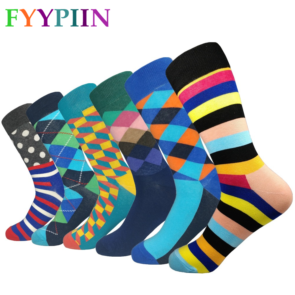 Happy Socks Rushed Sokken 2019 Funny Pattern Bright Colorful Men's Argyle Oil Painting Dot Striped Cotton Wedding (6 Pairs/lot)