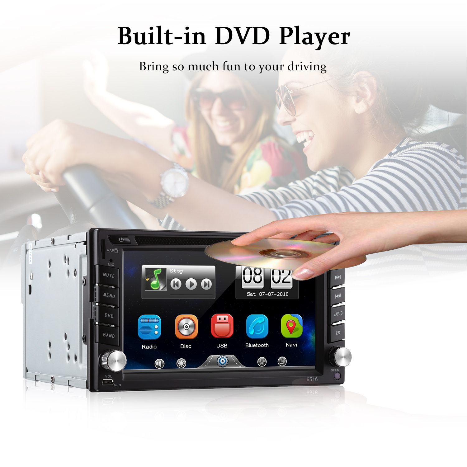 6 2'' Car DVD Player GPS Bluetooth AM FM Stereo Audio Auto Radio 2din Touch  Screen Mirror Link CD USB Music TV Wireless Remote