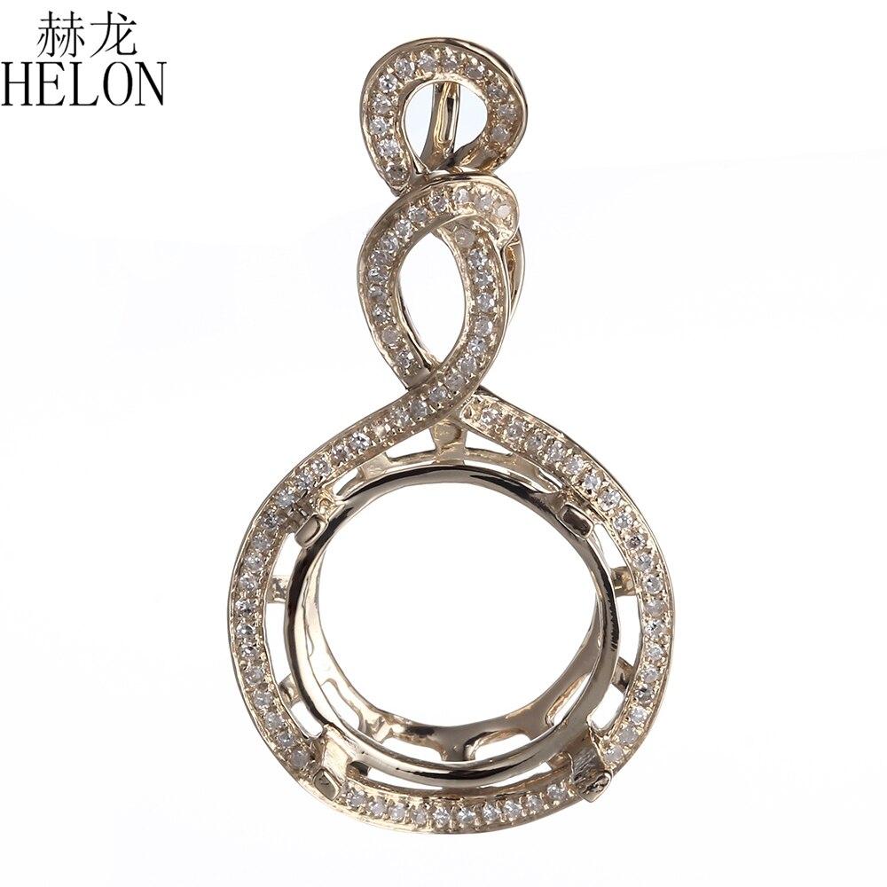 HELON Diamonds Jewelry 11 13mm Round Cut Solid 10K Yellow Gold Elegant Semi Mount Pendant Setting