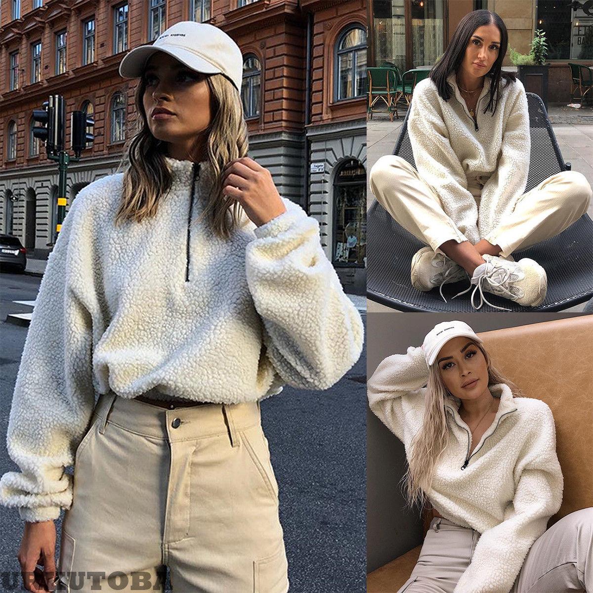 Hirigin Harajuku Sweater 2019 Newest Womens Winter Warm Fluffy Pullovers Jumper Winter Warm Top Coat Zipper Tops