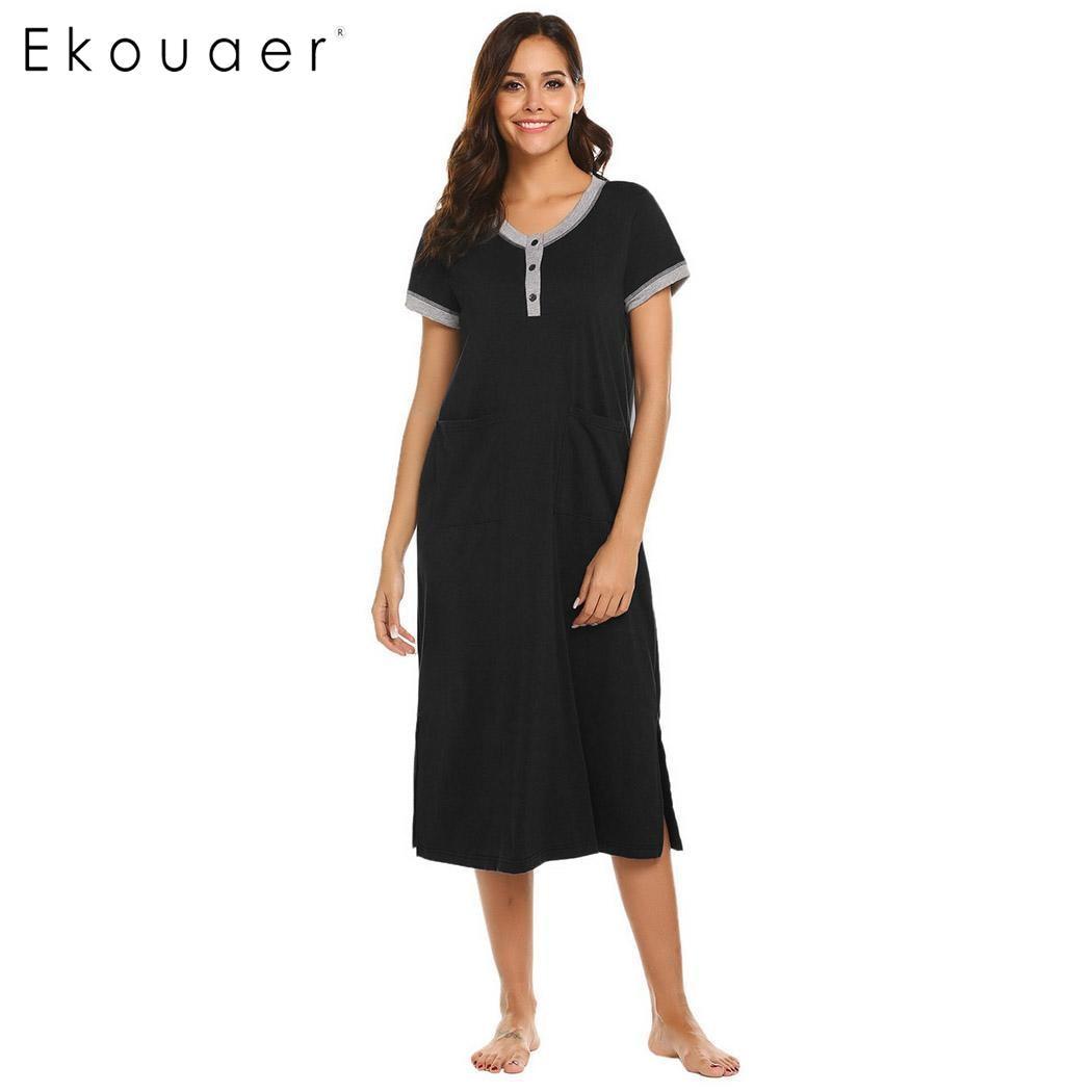 Ekouaer Women   Sleepshirts     Nightgown   Chemise Night Dress Solid Button Pockets Casual Nightdress Sleepwear Long Dress
